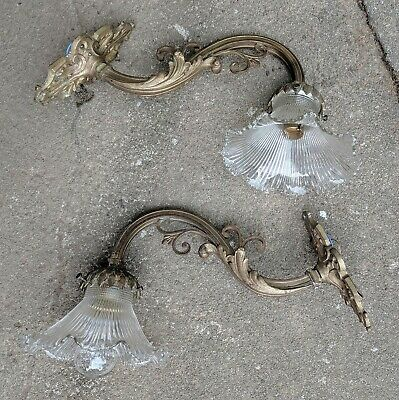 Antique Pair Rococo Louis XIV French Wall Lights with Holophane Glass Shades