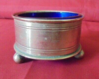 Vintage Silver Plate Salt With Cobalt Blue Glass Liner Three Ball Feet