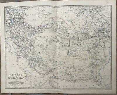 1861 Large Antique Map - PERSIA (IRAN), AFGHANISTAN & PAKISTAN - Keith Johnston