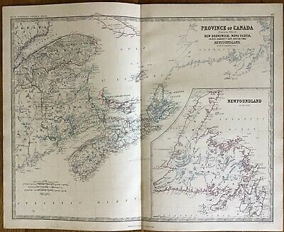 1861 Antique Map - NOVA SCOTIA, NEWFOUNDLAND, NEW BRUNSWICK - Keith Johnston