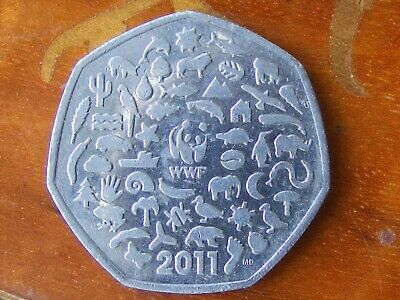 UK Fifty Pence Coin (circulated) - 2011 WWF