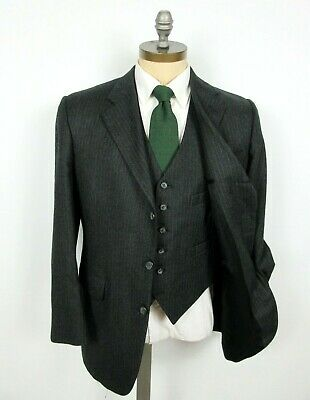 BROOKS BROTHERS 3 Pc 41R Gray Stripe Wool Flannel Suit Vest Flat Front 3 Roll 2