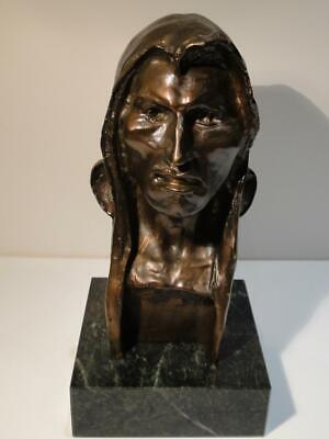 Bronze on Marble Bust of Native American Indian Sculpture