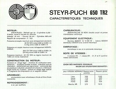 "FIAT ""500"" / STEYR-PUCH ""650 TR 2"" - 1965 - French specifications sheet, leaflet"