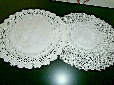 """TWO VICTORIAN WHITE COTTON DAMASK with HAND CROCHET LACE ROUND DOILIES 10"""" dia"""