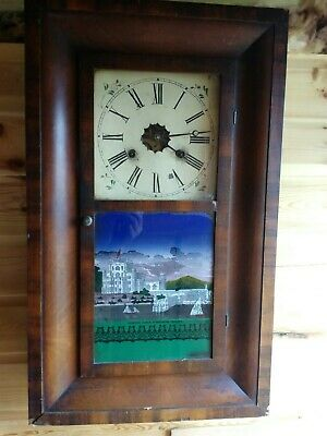 "Antique American ogee  ""Ansonia"" Oak Case Striking Wall Clock"