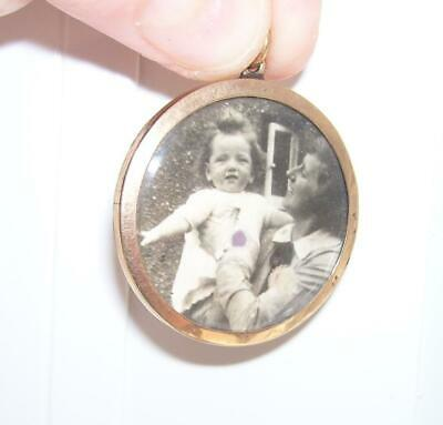 Large Round Antique Victorian 9ct Rose Gold Double Sided Photo Locket Pendant