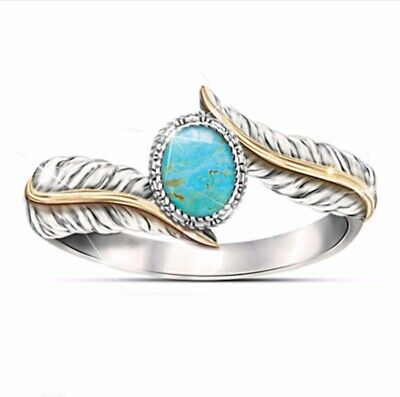 Vintage Turquoise Rings Feather-like Oval Cut Silver Ring Band Jewelry Size 8