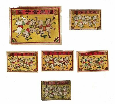 6 Old Japan c.1900s 1 packet & 5 box matchbox labels depicting People Tumbling