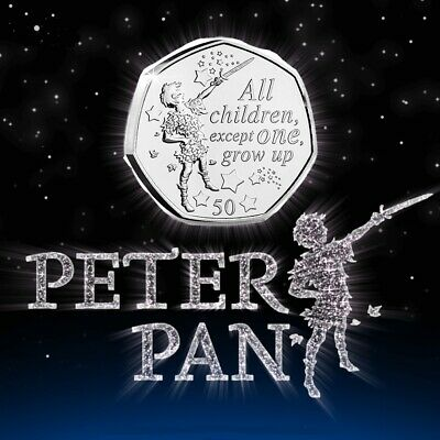 "2019 Peter Pan 50p Coin - ""All Children except one Grow up"" Uncirculated IOM"