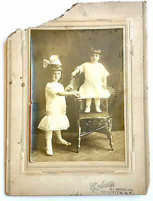 Antique Cabinet Photo ~ Two Little Brooklyn Girls ~ Lace Dress & Wicker Chair