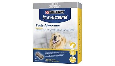 Purina Total Care Tasty Allwormer For Dogs 4 pack 06/2022