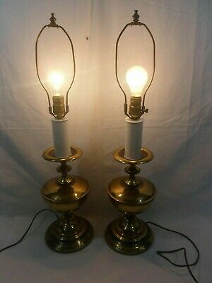 PAIR OF ANTIQUE BRASS OIL LAMP STYLE ELECTRIC TABLE LAMPS, AMERICAN MADE (Workin