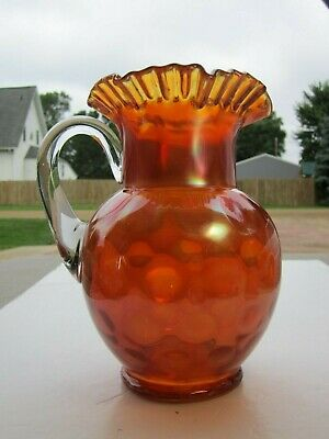 Rare Old Antique Fenton Large Inverted Coindot Carnival Glass Water Pitcher