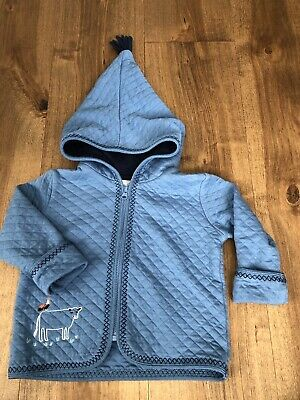 HANNA ANDERSSON Baby Boy Quilted Farm Applique Blue Zip Up Jacket 85 2T
