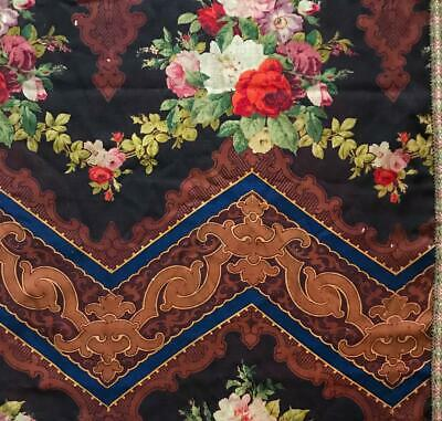 BEAUTIFUL 19th CENTURY FRENCH BLOCK PRINTED ROCOCO MOHAIR c1860s, ROSES 403