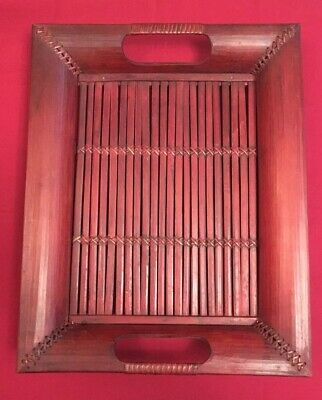 Vintage Hand Crafted Oriental Bamboo Tea Tray