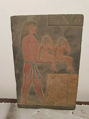 Rare Antique Ancient Egyptian Stela God Geb Earth Hold Sons Horus 1840-1760BC