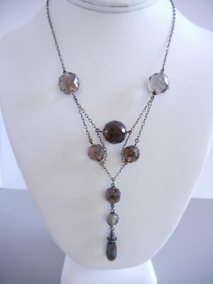 "Antique Art Nouveau 16 1/2"" Festoon Necklace Sterling Smoky Quartz Crystals"
