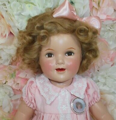 "20"" SHIRLEY TEMPLE Ideal doll 1930's COMPOSITION pink  Lucky Penny dress"