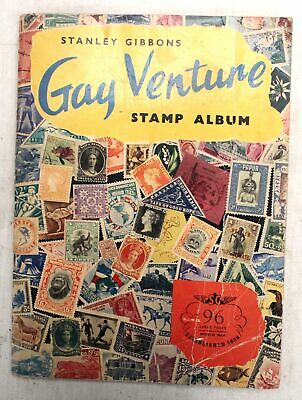 STANLEY GIBBONS Gay Venture STAMP ALBUM w/ Approx 100 Mixed Vintage STAMPS - L03