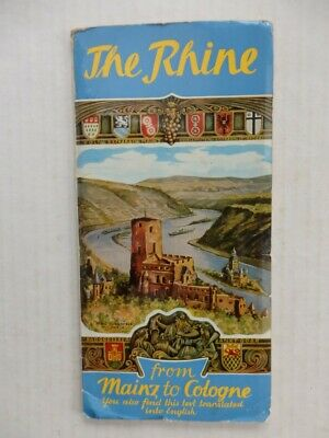 Vintage Long Fold-Out Map of The Rhine From Mainz to Cologne 6 Ft Long Excellent