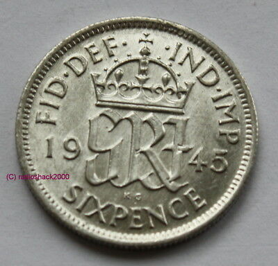 1945 King George V Lucky Sixpence 6d 50% silver. Wedding, Anniversary, Birthday.