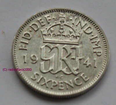 1941 King George V Lucky Sixpence 6d 50% silver. Wedding, Anniversary, Birthday.