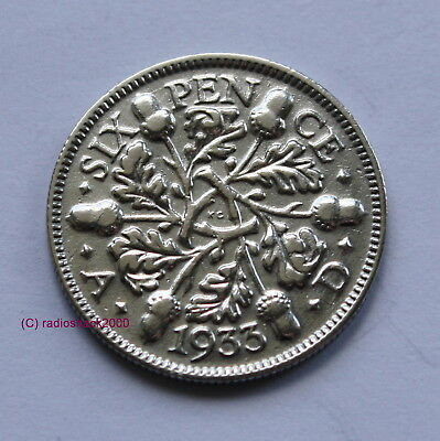 1933 King George V Lucky Sixpence 6d 50% silver. Wedding, Anniversary, Birthday.