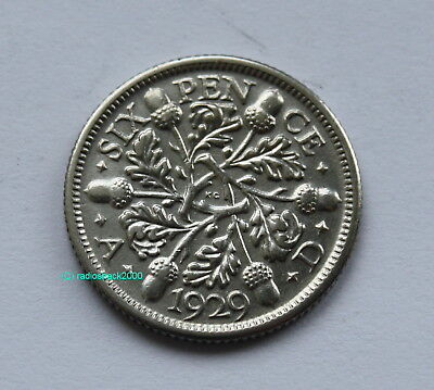 1929 King George V Lucky Sixpence 6d 50% silver. Wedding, Anniversary, Birthday.