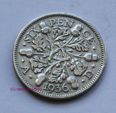 1936 King George V Lucky Sixpence 6d 50% silver. Wedding, Anniversary, Birthday.