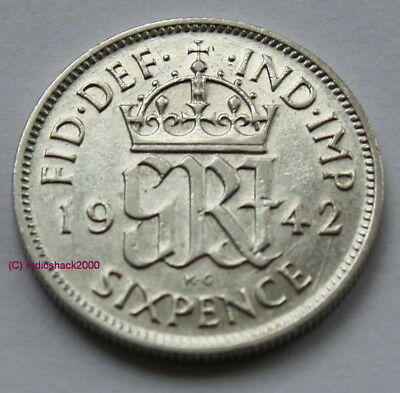 1942 King George V Lucky Sixpence 6d 50% silver. Wedding, Anniversary, Birthday.