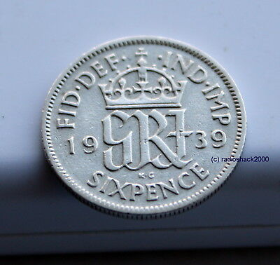 1939 King George V Lucky Sixpence 6d 50% silver. Wedding, Anniversary, Birthday.