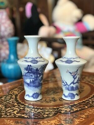 Beautiful Pair Of Antique Chinese Blue & White Porcelain Vase
