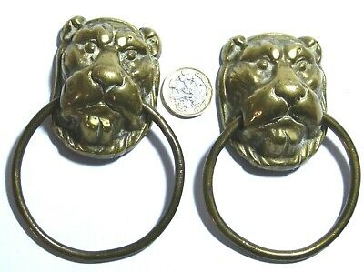 Pair Antique Brass Lion Head Chest Furniture Mount Ring Pull Handles Georgian