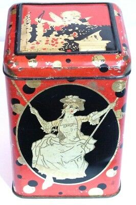 Antique Art Deco Sweets/Biscuit Tin 1920S  Cherub Lady In Swing Bubbles Minstrel