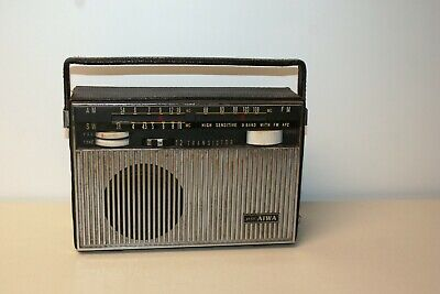 Vintage Aiwa AR-122 12 Transistor Radio with Leather Case AM FM and SW  works