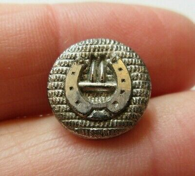 Excellent Small Antique Victorian Black GLASS BUTTON Silver Luster Horseshoe (L)
