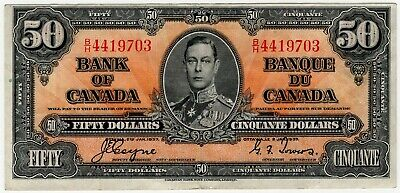 1937 Bank Of Canada Fifty 50 Dollar Bank Note Bh 4419703 Nice Bill