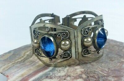 estate find, Sterling 4 section bracelet made in Mexico with blue glass stones