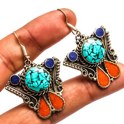 """Blue Turquoise Red Coral Lapis 925 Silver Overlay Earring Jewelry Sz 2.11"""""""