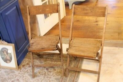 Wood Folding Chairs Set of 2 Slat Seats Extra Seating Snyder Chair Co Industrial