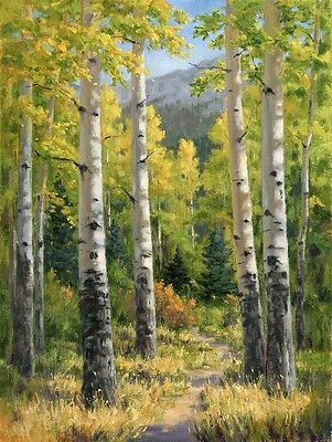 HD Print Forest trail Oil painting Art Giclee Printed on Canvas 16x20 inch P178