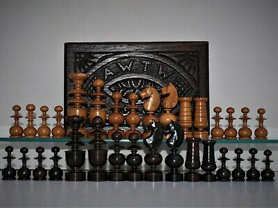 "Antique/vintage large 'French Regency' Chess Set (K=95 mm/3 3/4"") + carved.box."