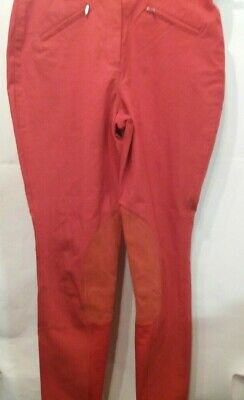"Ladies 30""W 28""L Red Hy Happy Hacker Horse Riding Jodhpurs -  Uk 14"