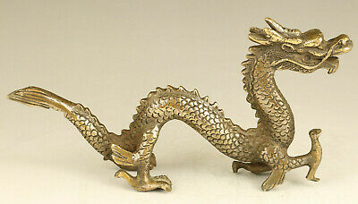 old bronze hand carved auspicious sign dragon statue collectable home decoration