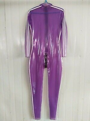 Damen Latex Catsuit Rubber Anzug Gummi Purple White Ganzanzug Crotch Zip S-XXL