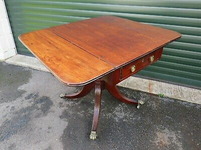 Regency Single Pedestal Mahogany Pembroke Table On Castors
