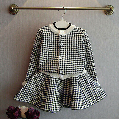 Toddler Kids Baby Girls Outfit Clothes Plaid Knitted Sweater Coat Tops Skirt Set