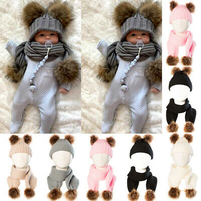 UK Toddler Kids Girls Baby Infant Winter Crochet Knit Hat Beanie Cap Scarf Set